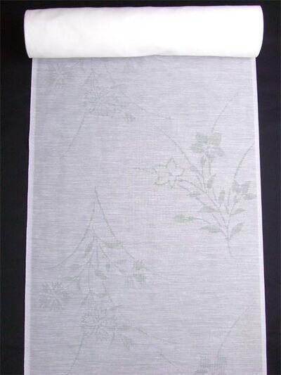 洗える長襦袢 夏物 麻混紋紗 桔梗なでしこ柄