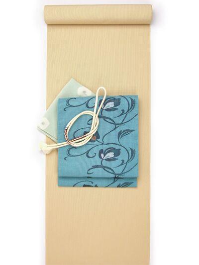 洗える着物 万筋(極細縞)/超TL寸可能42cm巾/裄丈80cm可 金茶