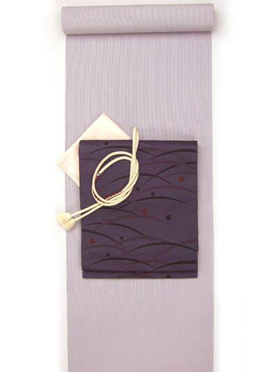 洗える着物 万筋(極細縞)/超TL寸可能42cm巾/裄丈80cm可 青み藤