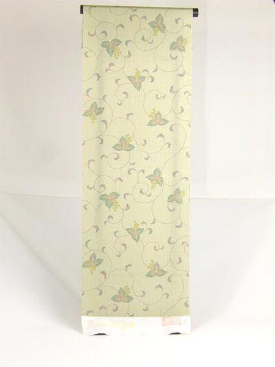 絹100%  丹後紬着物 唐草紋様 緑色