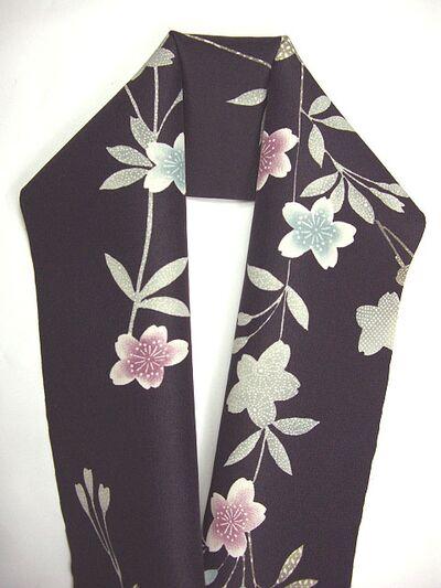 洗える友禅半衿 枝垂桜 紫