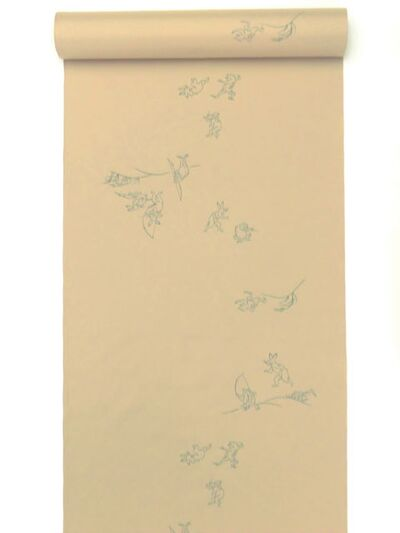 洗える男襦袢 小紋柄 鳥獣戯画柄 茶色