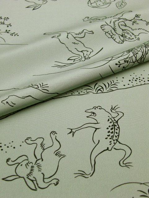 男襦袢『伊達小紋』鳥獣戯画 緑