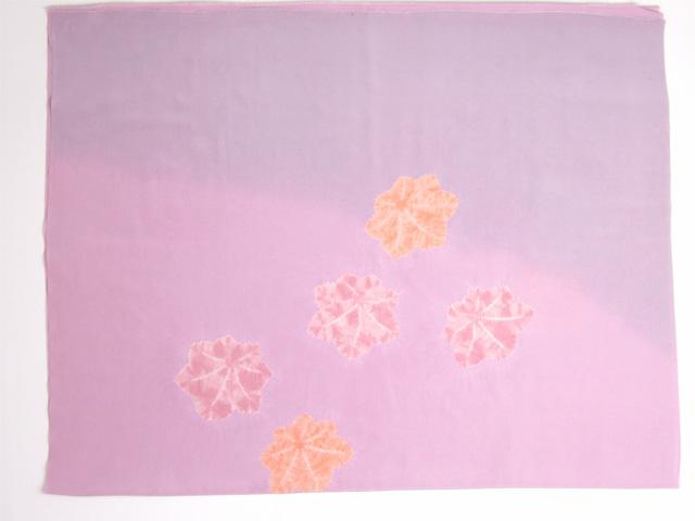 京都きもの工房 正絹女物額裏  紫と赤藤色ぼかしに絞り楓 全体
