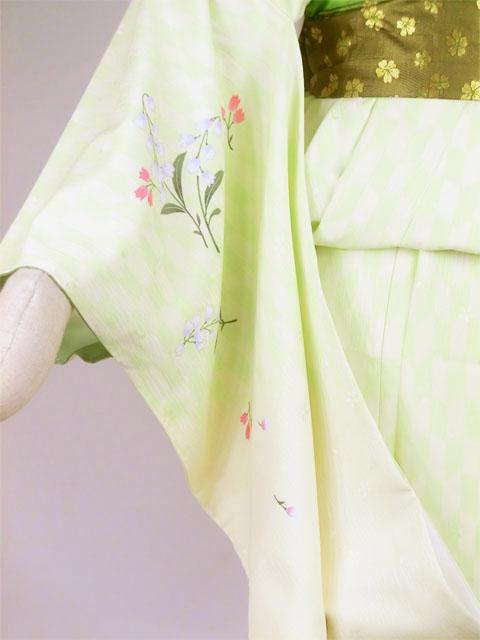 袴用着物アート小町二尺袖きものK502 グリーン系 袖