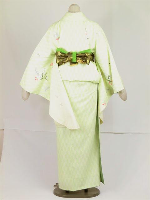 袴用着物アート小町二尺袖きものK502 グリーン系 後姿全体