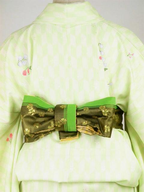 袴用着物アート小町二尺袖きものK502 グリーン系 後ろ姿