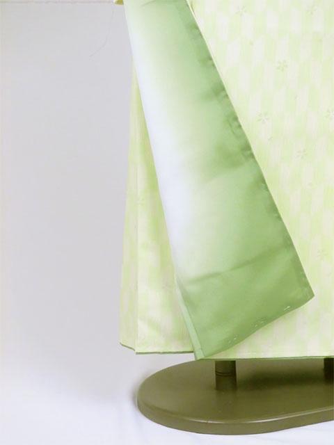 袴用着物アート小町二尺袖きものK502 グリーン系 裾