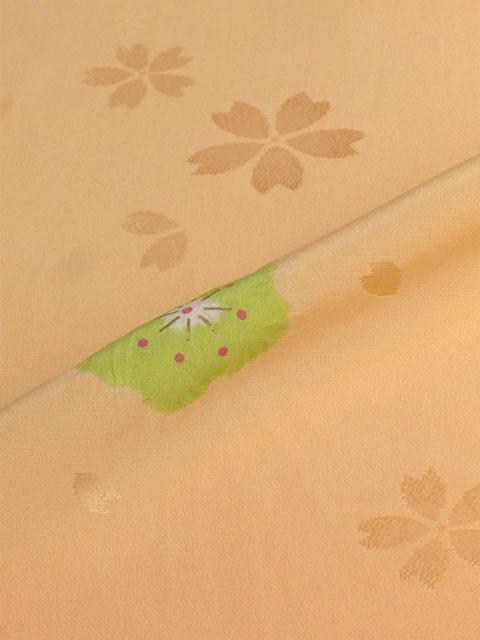 正絹長襦袢 桜吹雪に絞り オレンジ/本絞り