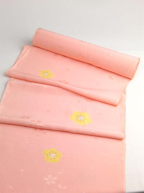 正絹長襦袢 桜吹雪に絞り 薄橙/本絞り