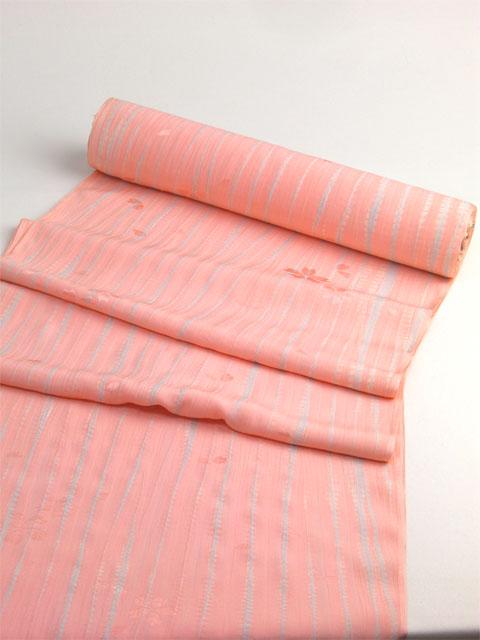 正絹長襦袢 桜吹雪に柳絞り ピンク/グレー