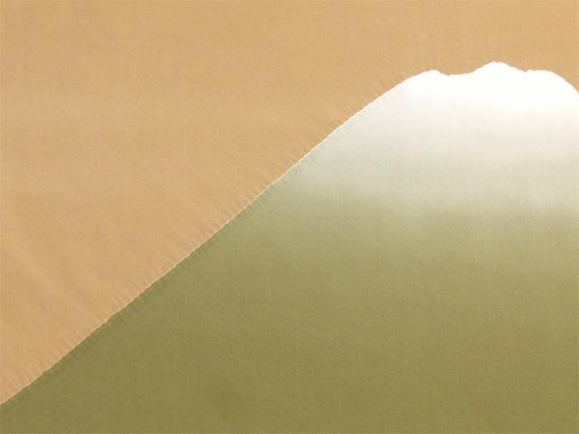 男物額裏 富士山絞り 薄橙/緑