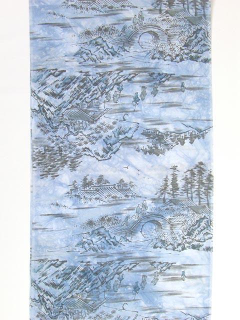 正絹 男物肩裏 山水に橋柄 たたき青