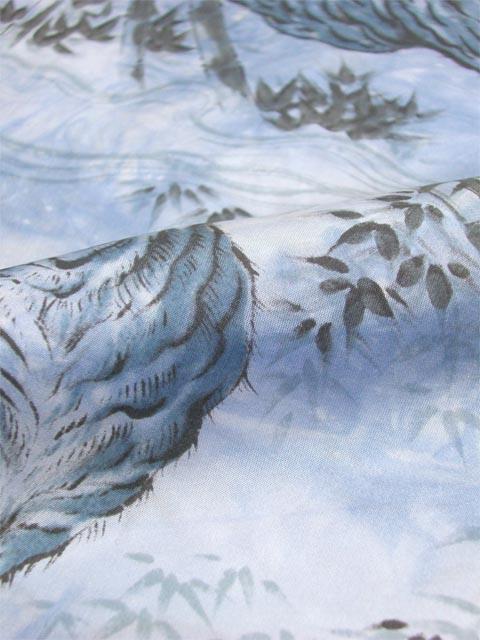 正絹 男物肩裏 虎柄 たたき青