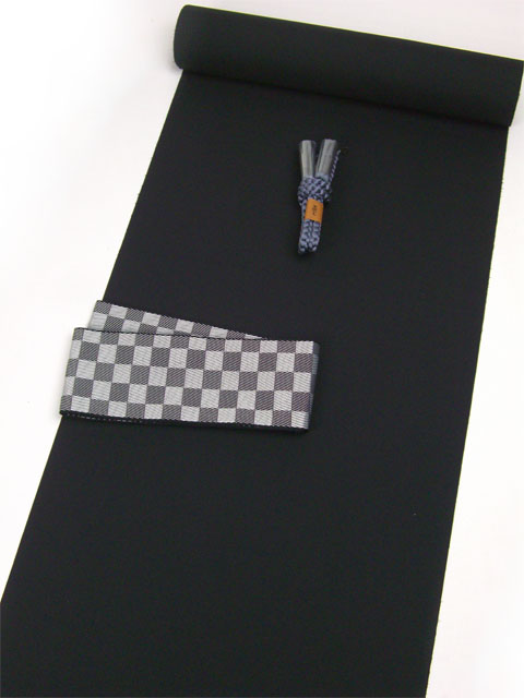 洗える男着物 羽二重(テイジンシルパール)  No.6 黒