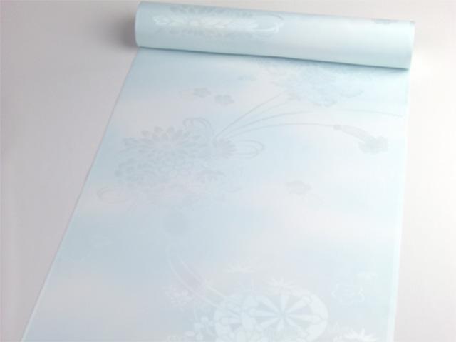 洗える長襦袢 クイーンサイズ 花籠と源氏車紋 水色ぼかし