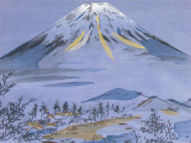 洗える男物額裏 青 No.11 富士山と帆掛け船