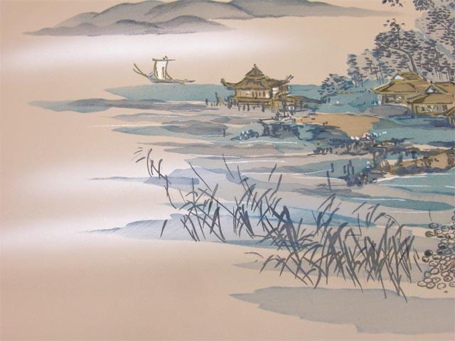 洗える男物 額裏  船と大岩 薄茶