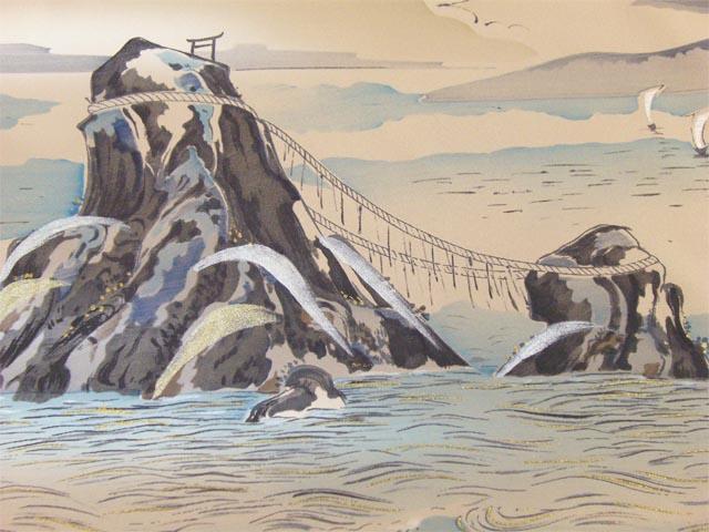 洗える男物 額裏  富士山に大岩 薄茶