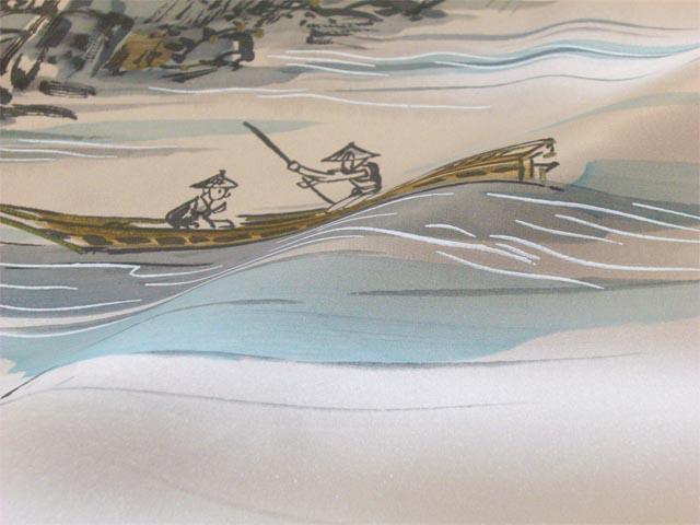 洗える男物 額裏 山水・水車に大岩 薄茶