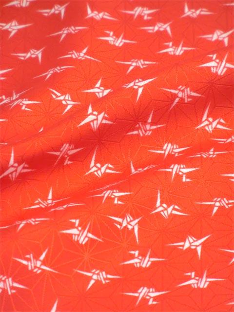 洗える長襦袢 赤 織り鶴