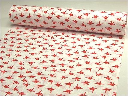 白地に紅(赤) 折り鶴