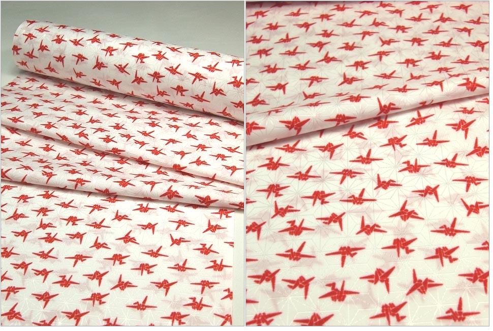 洗える長襦袢 白地に紅(赤) 折り鶴