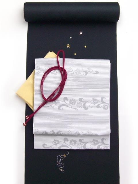 洗える着物 刺繍小紋 猫柄 黒 光触媒消臭