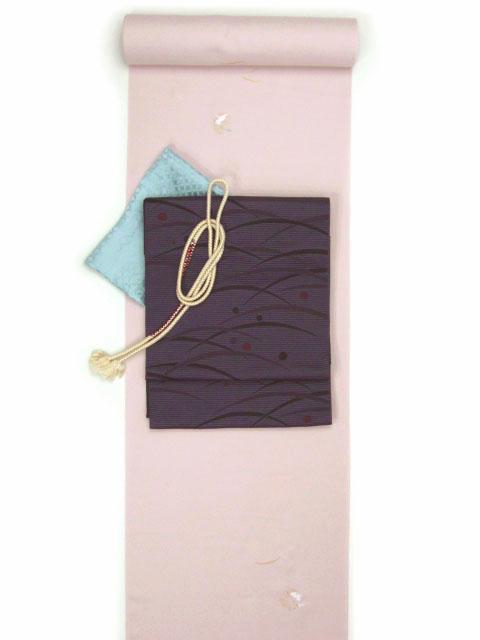洗える着物 刺繍 さくら色地に月とうさぎ