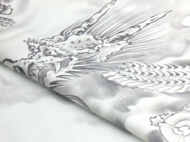 正絹額裏 白地に墨絵 手描き 竜神とドラゴンボール1