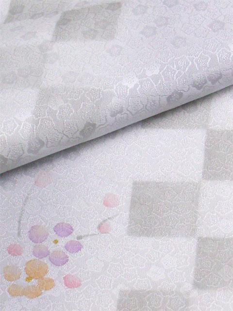 丹後産正絹襦袢 梅市松 グレー