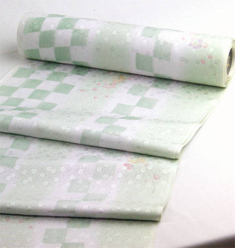 丹後産正絹襦袢 梅市松 鶸色(淡緑)