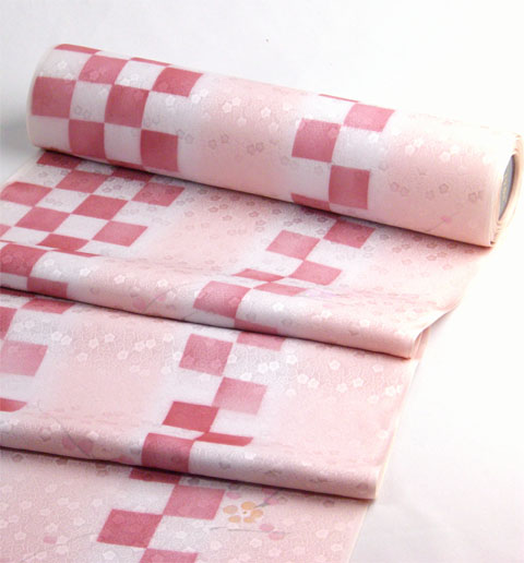 丹後産正絹襦袢 梅市松 ピンク