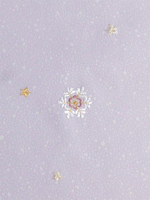 洗える着物 付下げ 刺繍 薄藤色地に雪の結晶 左袖