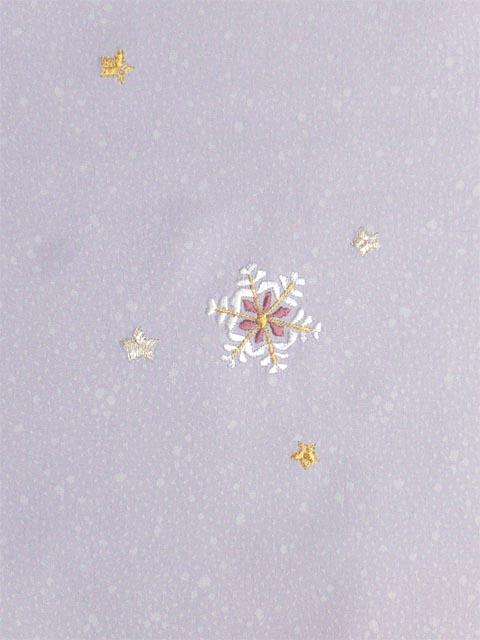 洗える着物 付下げ 刺繍 薄藤色地に雪の結晶 右袖