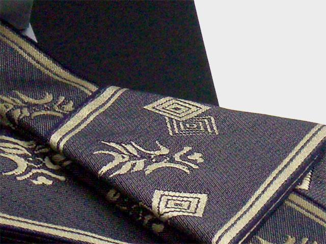 男物角帯ワンタッチ帯仕立 くまどり柄 金/紺(ポリエステル)