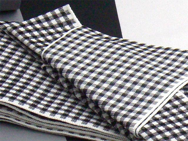 男物角帯ワンタッチ帯仕立 チェック柄 白黒(ポリエステル)
