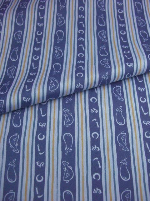 洗える男襦袢 小紋柄 かまわぬ ふぐと茄子柄 青