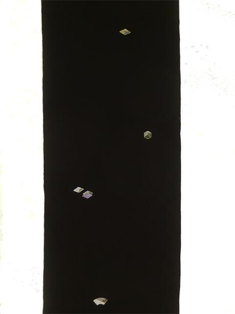 刺繍小紋用日本刺繍 扇と菱 黒地 全体 opsisyu-ougihisi-bl-10t