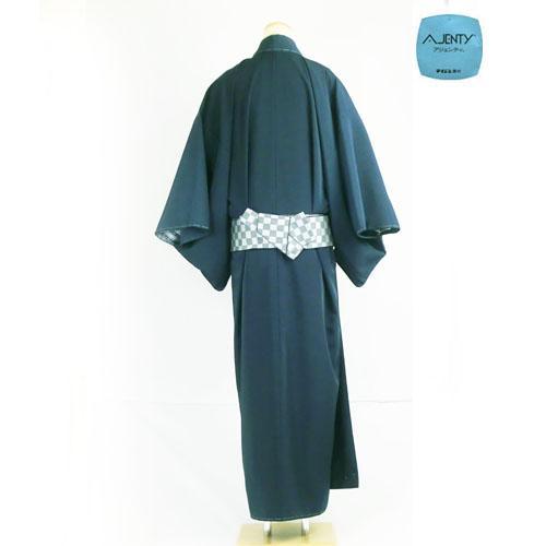洗える着物/羽織 男物 女物 高級羽二重(テイジンアジェンティnkf) 濃紺 仕立て上がり 後ろから