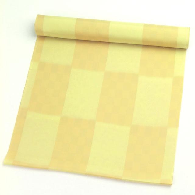 正絹肩裏 無地に市松 黄色