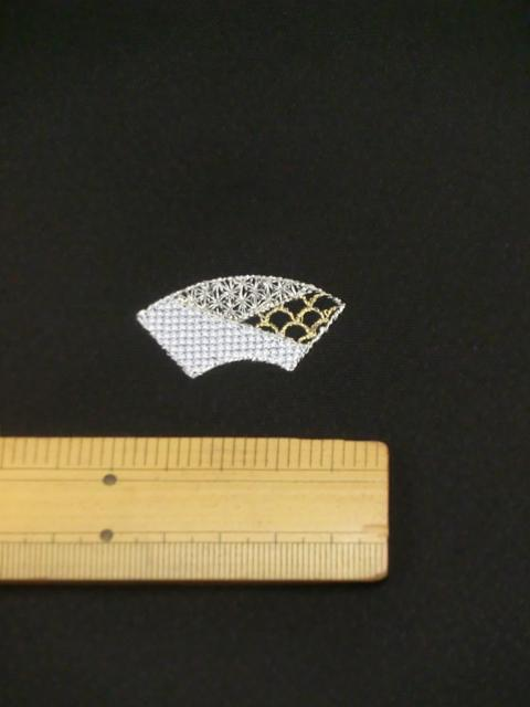 刺繍小紋用日本刺繍 扇と菱 黒地 5 opsisyu-ougihisi-bl-10-5