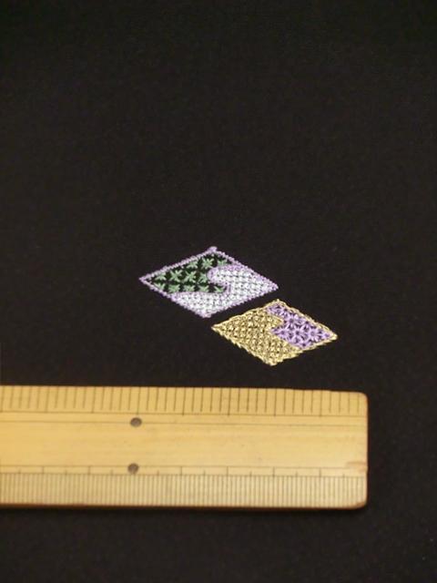 刺繍小紋用日本刺繍 扇と菱 黒地 8 opsisyu-ougihisi-bl-10-8