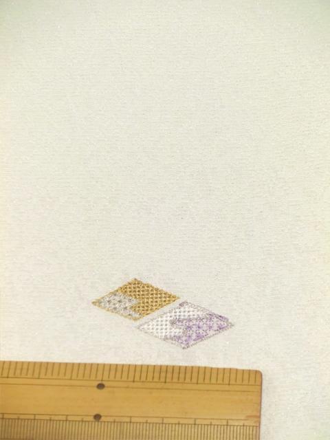 刺繍小紋用日本刺繍 扇と菱 白地 1 opsisyu-ougihisi-wh-10-1