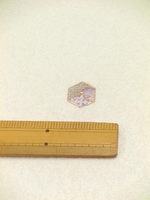 刺繍小紋用日本刺繍 扇と菱 白地 5 opsisyu-ougihisi-wh-10-5
