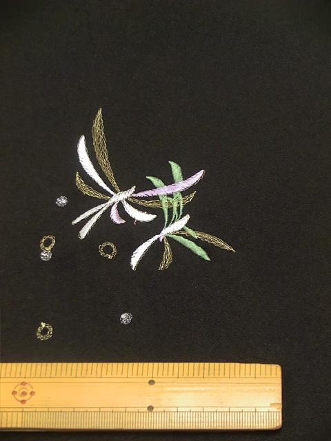 刺繍小紋用 日本刺繍 とんぼ 黒 拡大6 opsisyu-tonbo-bl-8-6