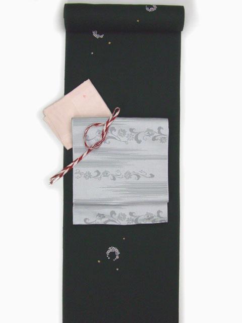 刺繡小紋用 花丸柄 全体写真 shineup-sisyu-kuro-hanamaru-tate.jpg