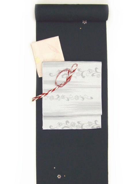 刺繍小紋用 雪の結晶柄 全体写真 shineup-sisyu-kuro-yuki-tate.jpg