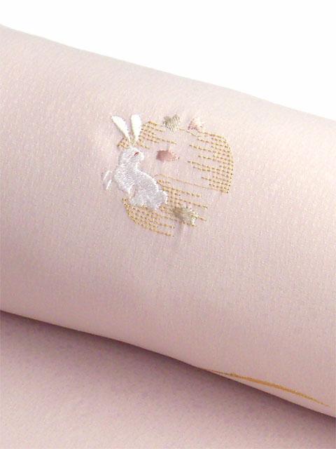 洗える着物 刺繍小紋 桜ピンク色 光触媒消臭 うさぎと月