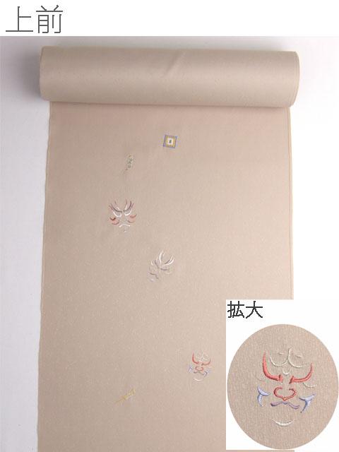 洗える着物 付下げ 刺繍 白茶色地にかぶき 光触媒消臭